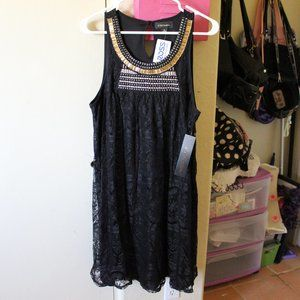 G COLLECECTION BLACK LACE BEADED DRESS